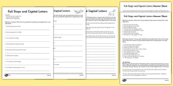 Capital Letters and Full Stops with Phase 5 Words Activity Sheet - capital letters, full stops, activity, worksheet