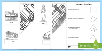 City Landscape Triarama Activity Sheet - urban, built features, manmade, constructed features, ACSSU019, diorama, worksheet, Australia