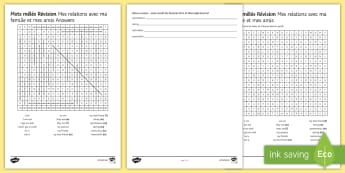 Relationships with Family and Friends Differentiated Word Search French - 15 Minute Revision Activities, French, wordsearch, GCSE, revision, key phrases, vocabulary.,French