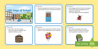 KS1 100 Days of School Multiplication and Division Maths Challenge Cards - 100 Days of School, reason, reasoning, total, find, solve, multiply, multiplication, times, groups o