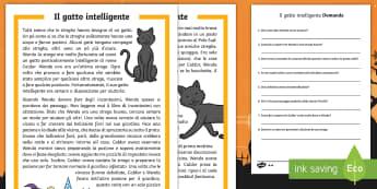 Il gatto intelligente Lettura Comprensiva - gatto, autunno, halloween, storia, strega, leggere, lettura, materiale, scolastico