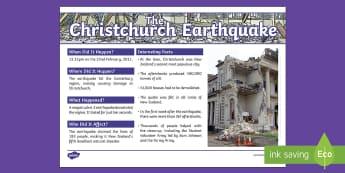 Christchurch Earthquake Fact File - New Zealand Natural Disasters, earthquake, tsunami, volcano, monsoon, hurricane, flood, Christchurch
