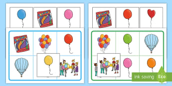 Balloons Matching Cards and Boards Game - EYFS, Early Years, birthday, party, colours, taking turns, game.