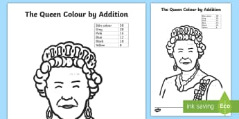 The Queen Colour by Addition Activity Sheet - Maths, mathematics, queen's birthday, addition, adding, colour by addition, Number and algebra,Aust