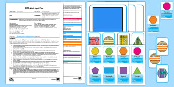 EYFS Sorting Presents Adult Input Plan and Resource Pack - Beginning to use mathematical names for  'flat' 2D shapes, mathematical terms to describe shapes