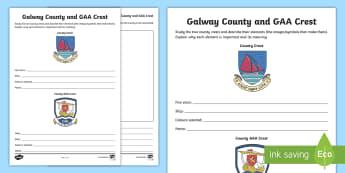 Galway County and GAA Crest Activity Sheet - GAA Football All-Ireland Senior Championship, GAA Hurling All-Ireland Senior Championship, GAA crest