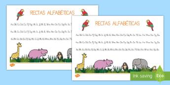 Mi recta alfabéticas: La jungla - La jungla, trans-curricular, animales, salvajes, mono, elefante, hipopótamo, guepardo, cocodrilo, c