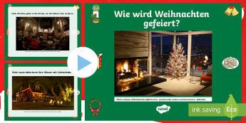 Wie wird Weihnachten gefeiert? PowerPoint Präsentation - Weihnachtlich, Traditionen, Bräuche, Feiertage, Dezember, ,German