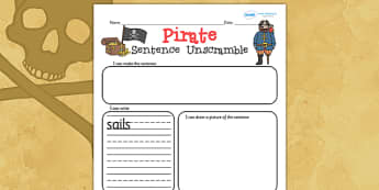 Pirate Sentence Unscramble Worksheets - pirate, literacy, words
