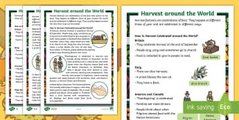 KS1 Harvest Around the World  Differentiated Fact File - Festival, Celebration, Non-fiction, Information, Food