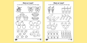 More Or Less Colouring Activity - more or less, quantity, colour, colouring, activity, less, more, less than, more than, numeracy, measurement, more than, less than