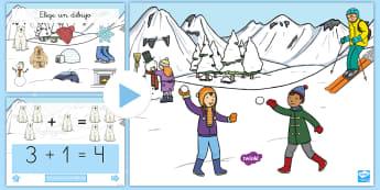 Presentación: Las sumas invernales  - adicion, sumar, operaciones, las estaciones,Spanish
