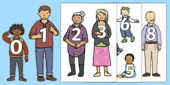 Numbers 0 to 50 on Family Members Display Cut Outs - numbers, 0, 50, family members, display, cut outs