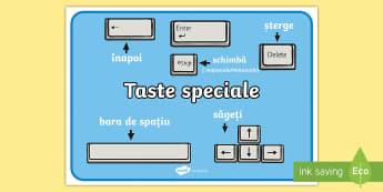 Tastele speciale - Planșă - informatică, română, tastatură, it, computer, calculator, materiale, planse,Romanian