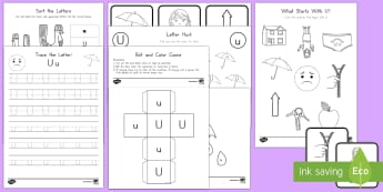 Letter U Activity Pack - Alphabet Packets, Letter U, Letter Formation, Letter Identification, Beginning Sound Activities, EYF
