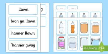 Capacity Matching Cards English/Welsh - Maths, Numeracy, Welsh maths, incidental welsh, capacity, capacity welsh, capacity welsh and english