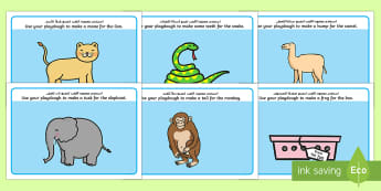 Playdough Mats to Support Teaching on Dear Zoo - Arabic/English - Dear Zoo Play dough Mats - Dear Zoo, Rod Campbell story, zoo, zoo animals, adjectives, descriptive w