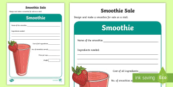 KS1 Design a Smoothie Activity Sheet - enterprise, idea, sale, cost, sell, money, worksheet