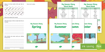 Little Acorns Seasons Diary Activity Sheet - Twinkl original, fiction, Seasons, KS1, Little Acorns, Science, English, diary, worksheet