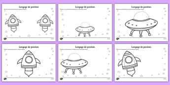 Alien Positional Language Worksheets French - french, france, francais, alien, positional,postional language