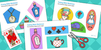Alice in Wonderland Cutting Skills Worksheet - motor skills, cut