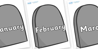 Months of the Year on Gravestones - Months of the Year, Months poster, Months display, display, poster, frieze, Months, month, January, February, March, April, May, June, July, August, September