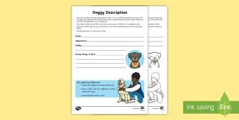 Doggy Description Activity Sheet - Amazing Fact Of The Day, activity sheets, powerpoint, starter, morning activity, January, KS1 Amazin