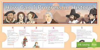How Can I Progress in History? Display Pack - GCSE, new grade descriptors, 1-9, skills, progress, self assessment, assessment for learning, indepe