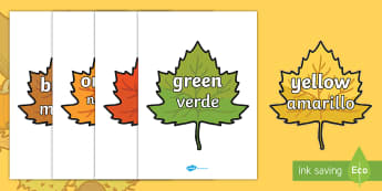 Colour Words on Autumn Leaves Topic Words English/Spanish - Colour Words on Autumn Leaves - Leaves, colour display, colour posters, colour, display, poster, pos