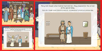 The Nativity Christmas Story PowerPoint English/French -  Christmas PowerPoint, interactive, powerpoint presentation, presentation, slide show, slides, the n