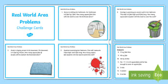 Real World Area Problems Challenge Cards - real world problems, problem solving, area, multiplication, tiling