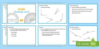 Angle Challenge Cards - ACMMG112, Year 5 Maths, Angles, Angle, Measure Angles, Draw Angles, Estimate Angle, Angle Size, Chal
