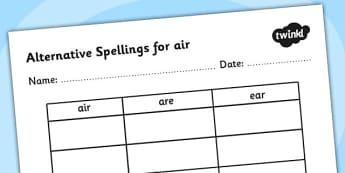 Alternative Spellings for air Table Worksheet - alternative spellings for air, table worksheet pack, table worksheet, air worksheet