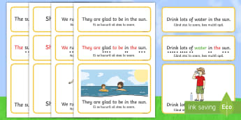 Summer Simple Sentence Cards English/Romanian - Summer, reading, sentences, eyfs, word cards, digraphs, trigraphs, phonemes, tricky words, eyfa, sig
