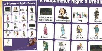 A Midsummer Nights Dream Vocabulary Mat - shakespeare, vocabulary