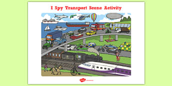 Transport I Spy Scene Activity - transport scene, I spy, activity