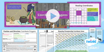 PlanIt Y4 Position and Direction Lesson Pack Polygons (1) - Y4 Position and Direction, coordinates, polygons, 2D shapes, Plot specified points and draw sides to