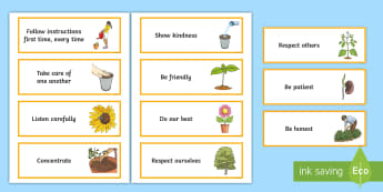 KS2 Plants-Themed Class Charter Cards - rules, behaviour, display, science, life processes,