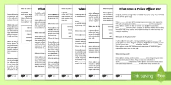 CfE First Level What Does a Police Officer Do? Cloze Passage Differentiated Activity Sheets - Literacy, English, reading, activity sheet, cloze reading, police, people who help us, first level,