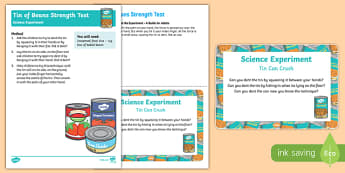 EYFS Tin of Beans Strength Test Science Experiment and Prompt Card Pack