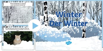 All About Winter PowerPoint English/German  - EAL, German, information, snow, ice, christmas