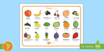 Fruit Word Mats US English/Spanish (Latin) - Fruit word mat, fruit words, word mat, Foundation stage, apple, orange, satsuma, pear, banana, tange