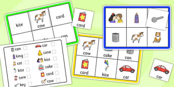 Initial k Sound Bingo and Lotto Game - initial k, bingo, lotto