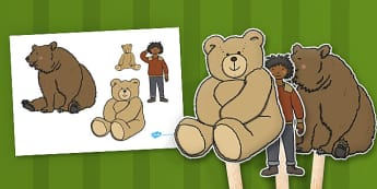 Ive Lost My Teddy Where Is It Stick Puppets - Where's My Teddy, teddy, woods, forest, lost, bear, reading, story, story book, story sequencing, story resources, stick puppet
