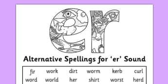 Alternative Spelling For er Sound Activity Sheet - KS1 Phonics, Alternative spellings, er sound worksheet
