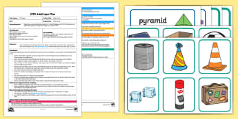EYFS Shape Craft Adult Input Plan and Resource Pack - Beginning to use mathematical names for 'solid' 3D shapes , and mathematical terms to describe s