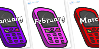 Months of the Year on Mobile Phones - Months of the Year, Months poster, Months display, display, poster, frieze, Months, month, January, February, March, April, May, June, July, August, September