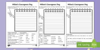 The Making of Milton Diary Differentiated Activity Sheets - twinkl fiction, feelings, recount, courage, bravery, first person, worksheet