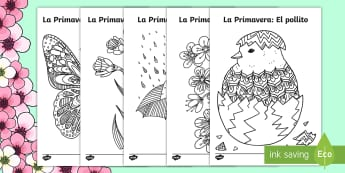 Springtime Mindfulness Colouring Pages Spanish - Spring, KS2, Spanish, MFL,mindfulness, colouring, pages, worksheet, activity, sheet