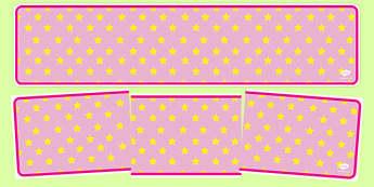 Pink with Yellow Stars Editable Display Banner - pink, yellow, display, banner, display banner, display header, themed banner, editable banner, editable